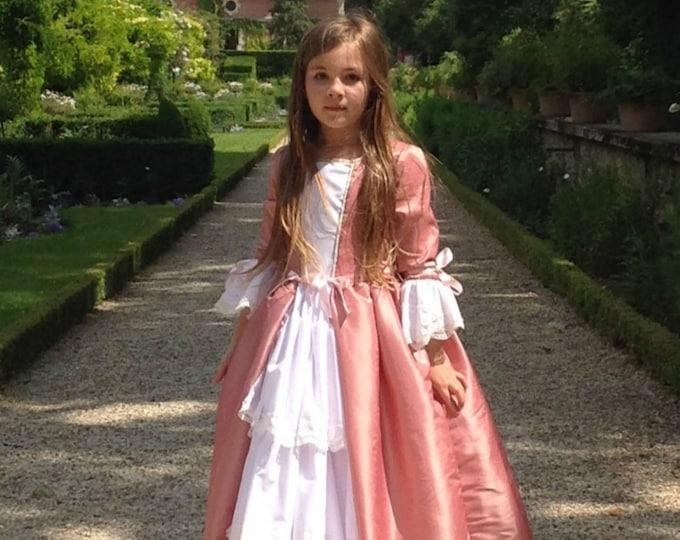Princess princess girl dress, princess dress, marquise costume, pink taffeta, white cotton, lace