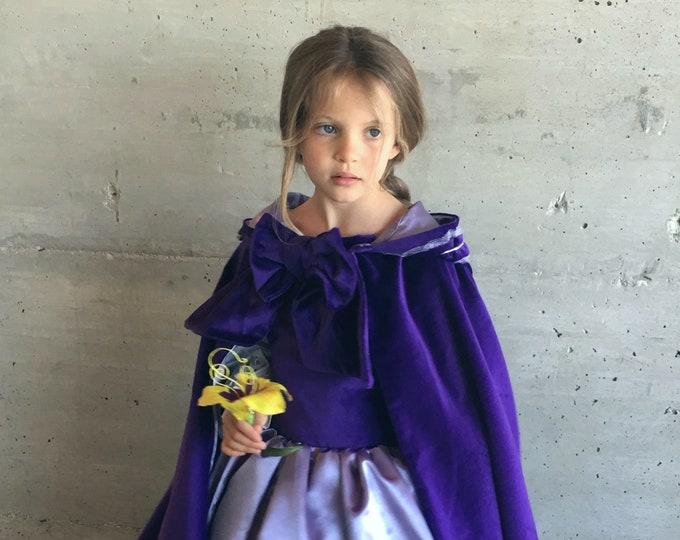 Purple velvet princess cape, lilac satin lining