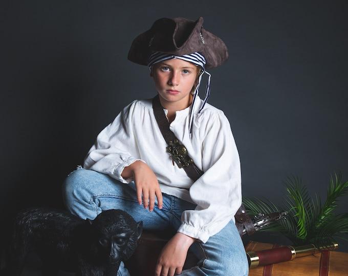 Child pirate tricorne, suede and marinière fabric