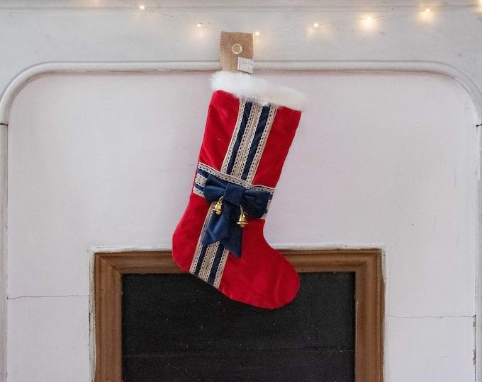 Christmas boot in red velvet interior satin, decoration gift package, white fur, handmade