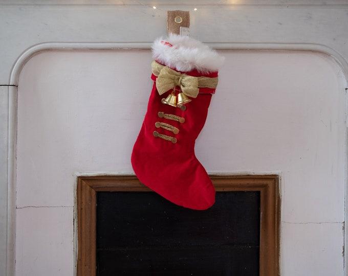 Christmas boot in red velvet interior satin, nutcracker decoration, white fur, handmade
