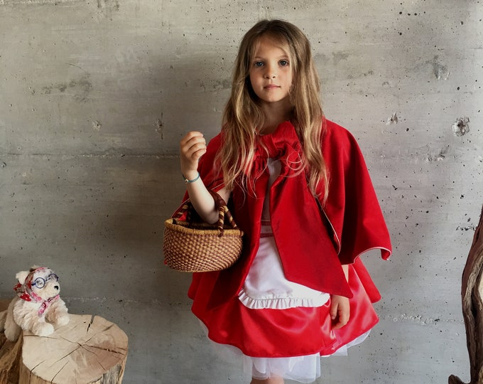 Little Red Riding Hood costume, dress and cape in red velvet, satin and cotton