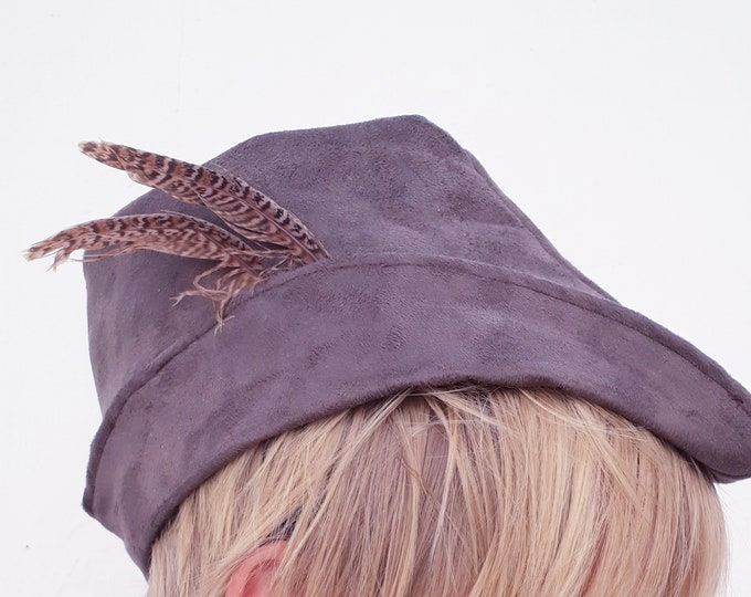 Robin Hood hat, double-thick suede, skin effect, handmade