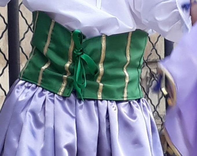 Green satin and gold ribbons waist band, handmade