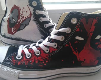 fdf35d28fde4e4 Deadpool converse shoes