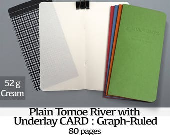 80 Page Tomoe River with UNDERLAYS - Cream 52gsm, Midori Inserts - 12 Kraft colors - Scrapbooking - Regular A5 Wide B6 Slim Personal