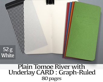 80 Page Tomoe River with UNDERLAYS, White 52gsm - 80 page - Clean & Protected Tomoe Insert - Bullet Journal - Fountain Pen Paper