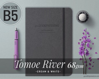 B5 - TOMOE RIVER 68gsm - Cream & White - 140 pages - Bullet Journal - Fountain Pen Friendly - Dot Grid, Ruled, Graph, Plain.