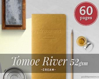 Tomoe River Cream 52gsm, Traveler's Notebook - 12 kraft colors - Fountain Pen Friendly - Scrapbooking notebook - Bullet Journal