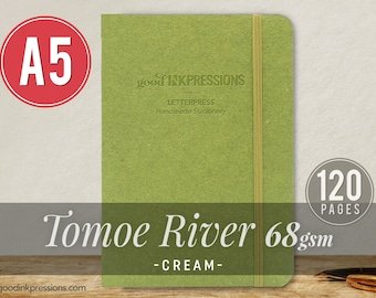120 pg TOMOE RIVER CREAM 68gsm Notebook - Xmas Gift - A5 - Bullet Journal - Fountain Pen Friendly  - Extra Durable Construction
