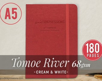 A5 - TOMOE RIVER 68gsm - 180 pgs. - Cream & White - Xmas Gift - Bullet Journal - Fountain Pen Friendly  - Extra Durable Construction