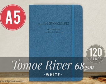 120 pg TOMOE RIVER WHITE 68gsm Notebook - Xmas Gift - A5 - Bullet Journal - Fountain Pen Friendly  - Extra Durable Construction