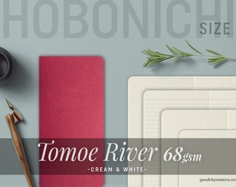 HOBONICHI Weeks Size - 120 Pages - TOMOE RIVER 68gsm, Cream & White, Midori Inserts - Bullet journal - Scrapbooking- Fountain Pen