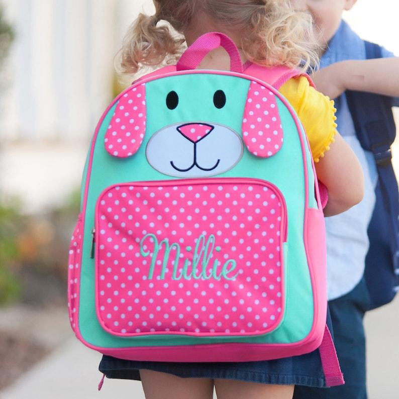 Personalized Preschool Backpack Preschool Backpack Girl Viv and Lou Backpack Pink Puppy Backpack Pre-K Backpack Puppy Backpack