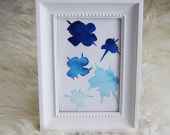 Blue Original Watercolor Painting Wall Hanging Card