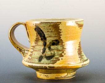 Handmade Soda Fired Gold, Green, and  Black Coffee/Tea  Mug