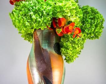 Handmade Soda Fired Ceramic Abstract Motif  Flower Vase