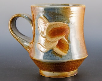 Handmade Soda Fired Orange and Blue Flower Design  Coffee/Tea  Mug