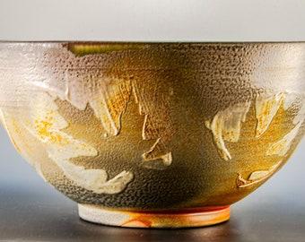 Handmade Wheel Thrown Soda Fired Maple Leaf Pattern  Design Large Serving Bowl