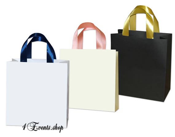 Blank Paper Gift Bags With Any Color Satin Ribbon Handles