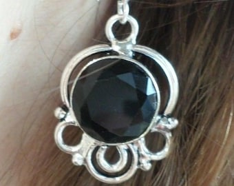 Silver plated EARRINGS and ONYX (BOU12)