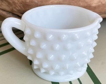Vintage Hobnail Milk Glass Creamer / Mid-Century Demitasse Cup / Retro Kitchen Glassware