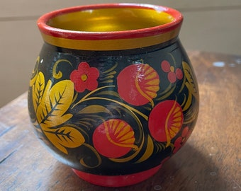 Vintage Hand Painted Wood Small Vase / Red, Black and Gold Small Bowl / Home Decor / Decorative Bowl, Candy Dish, Small Planter