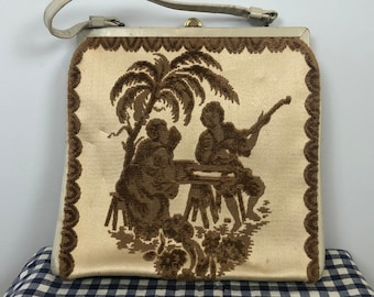 Rare Vintage 60s Cream Lyn-Art NY Italian Tapestry Handbag / Brown Embroidered, One of a Kind Purse