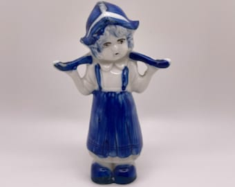 Vintage Dutch Girl Figurine Made in Japan / White and Blue Painted Delft Porcelain / Mid Century Decor and Knick Knacks