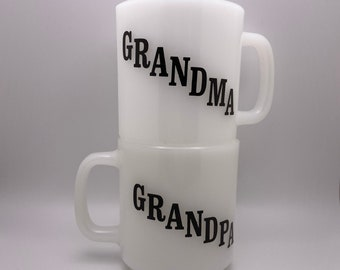 Vintage Pair of Grandma and Grandpa Matching Glasbake Milk Glass Mugs / Set of 2 Grandparent Coffee or Tea Cups/ Made in USA