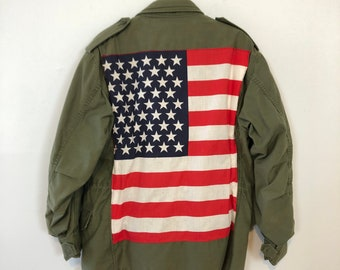 60s American Flag Army Green Parka / Rare Vintage Unisex Jacket / One of a Kind Fall Coat / Red, White and Blue