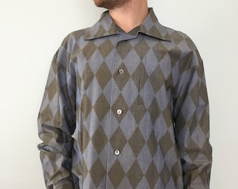 Vintage Issey Miyake Men's Button Down Dress Shirt / Grey and Blue Diamond Harlequin Pattern Long Sleeve Shirt / 100% Cotton, Size Small