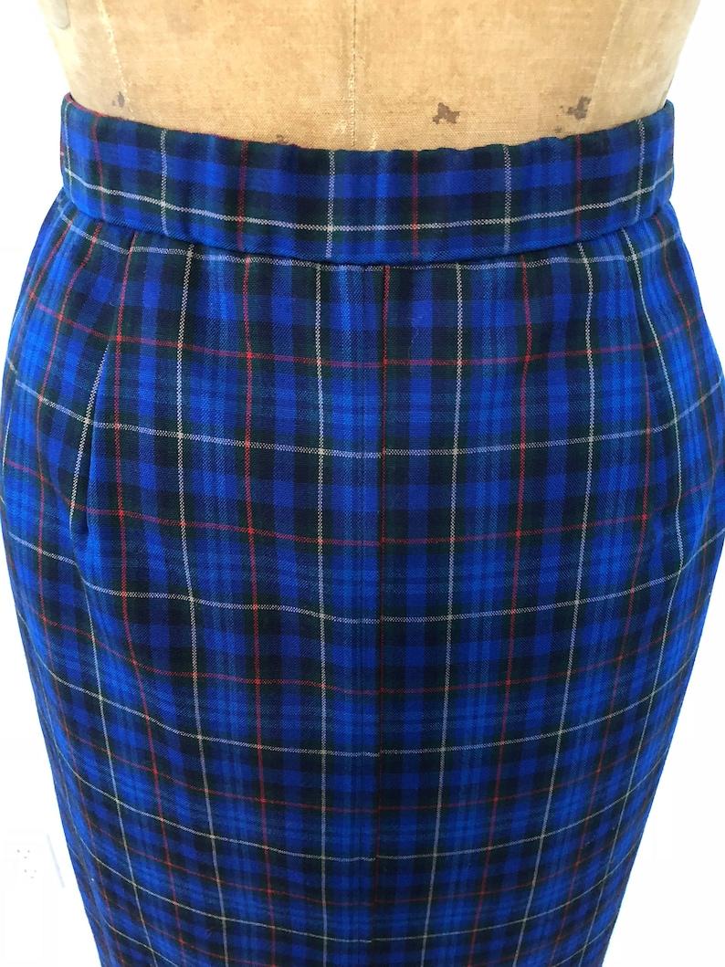 Vintage 60s Pendleton Originals Blue Plaid Skirt  Long Wool Skirt  1960/'s Long Pencil Skirt with Pockets  Fall or Winter Size 10 Skirt