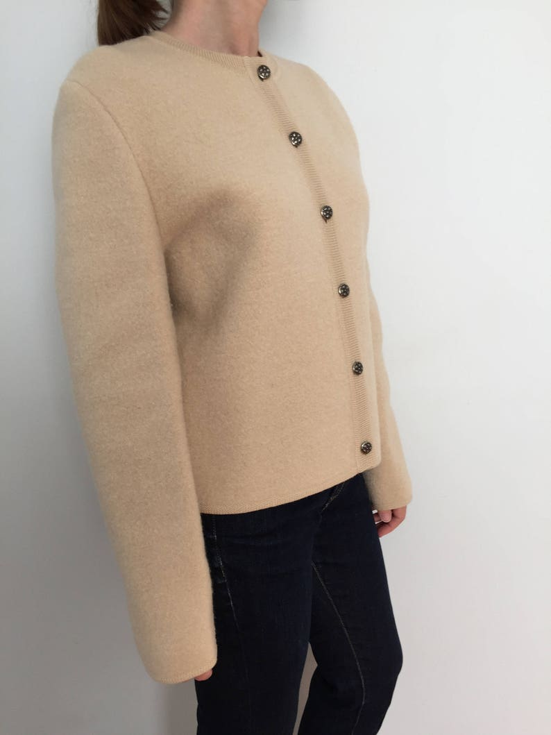 Skyr 60s Fall Coat  Thick Wool Sweater Coat  Pure Wool Short Jacket  Button Up Fall Jacket or Winter Sweater  1960/'s Boxy Vintage Coat
