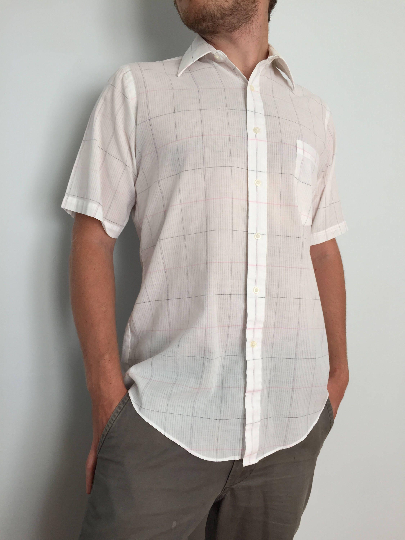 Van Heusen White Button Down Short Sleeve Dress Shirt Etsy