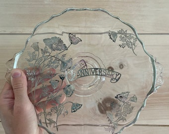 Vintage 25th Wedding Anniversary Sterling Silver Floral Design Glass Plate / Mid-Century Home Decor / Marriage Anniversary Gift / Cake Stand