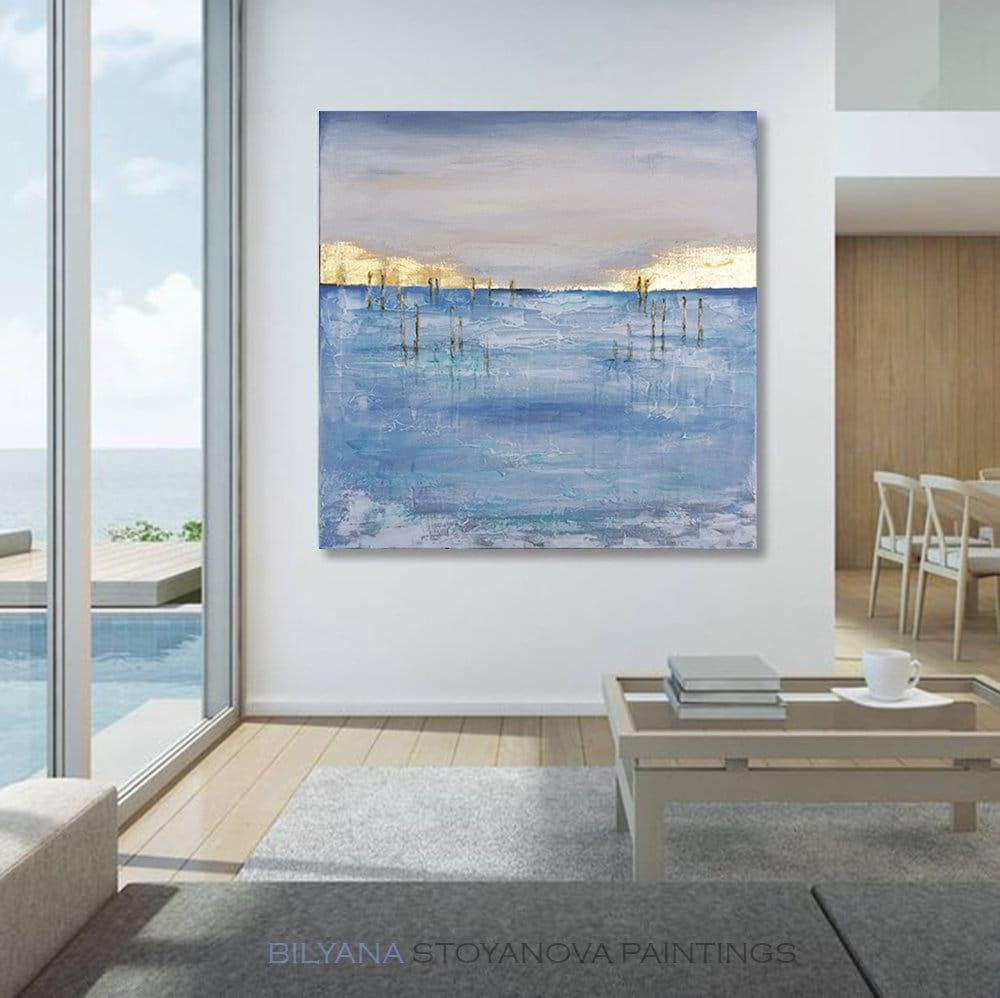 28 Beyond the Blue Horizon, Abstract Seascape by artist Bilyana Stoyanova,  Blue and Gold Leaf, Palette knife Original painting