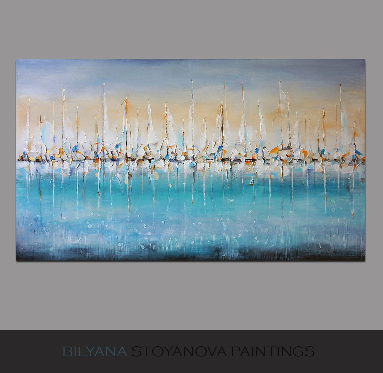 Waiting for a Breeze, XLarge abstract painting, Contemporary art by artist  Bilyana Stoyanova, Abstract Seascape 10 x 10cm 10