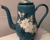 Enamelled,Sheet metal ,Charming enamelled coffee pot, French,1900, EMAIL,Vintage, ANTIQUE, blue, Flowers, enameld Shabby chic