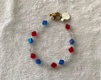 8 inch crystal Red, white and blue bracelet