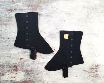 Victorian Edwardian Black Wool Spats with Original Price Tag