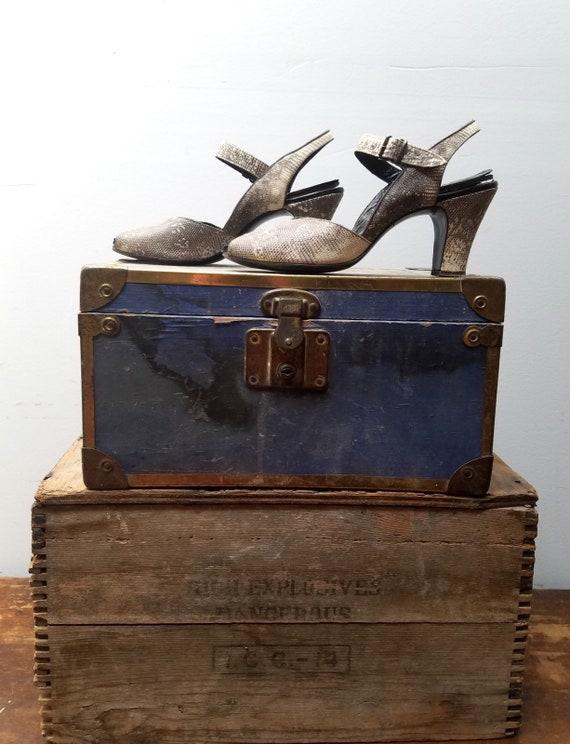 1940's Peeptoe Snakeskin High Heel Pumps