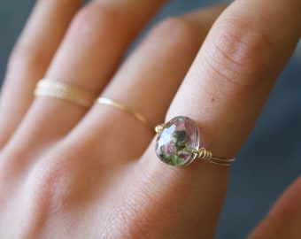 Mojave watermelon tourmaline Gold Filled Wire Crystal Statement Ring/ Vegan Jewelry/ Thin/ Dainty/Delicate/Minimalist/ Handmade/Ring/Gift fo