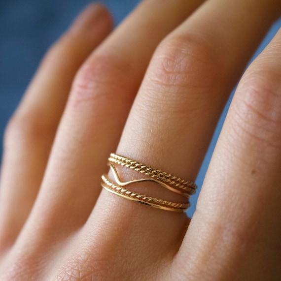 Minimalist Ring Chevron Ring Stackable Handmade Dainty Etsy