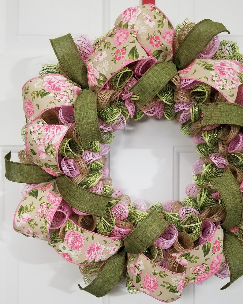 Mom Gift For Her Spring Summer Pink Green Floral Flower Deco Mesh Wreath Bedroom Bathroom Decoration Everyday Home Porch Front Door Decor