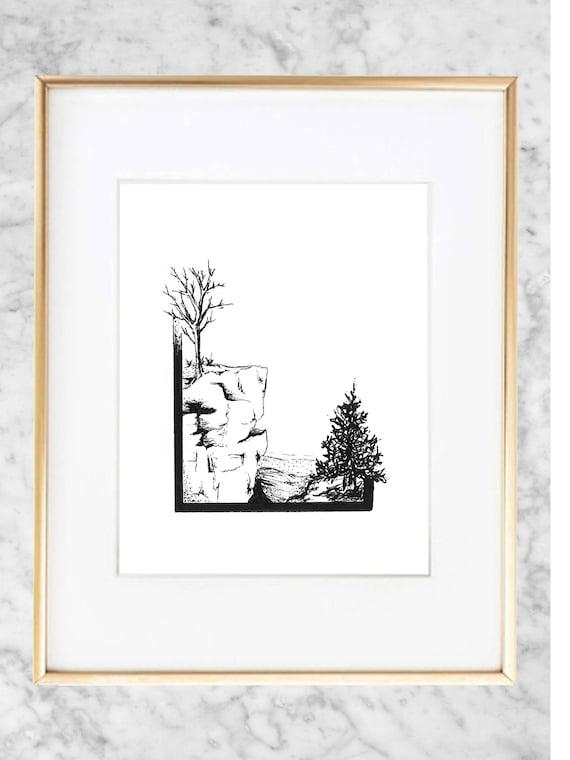 Minimalist Cliffs Abstract Pen Sketch Print