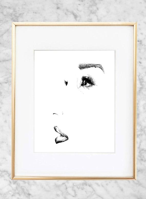 Minimalist Female Portrait Abstract Pen Sketch Print
