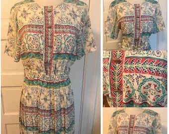 SALE! Vintage 1970s, 1980s Floral Paisley Geometric Summer House Maxi Dress Size 6