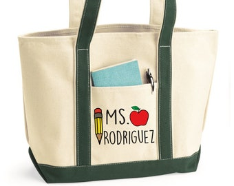 Custom Teacher Tote, Teacher Tote, Teacher Tote Bag, Personalized, Canvas Bag, Teacher Bag, Teacher Gifts, Canvas Tote Bag, Tote Bag, Custom