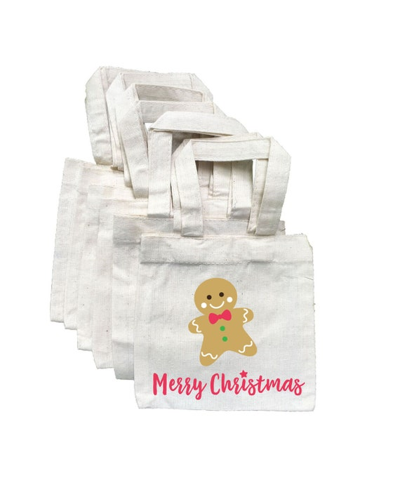3 Christmas Treat Bags Gingerbread Man Party Favor Bags Gingerbread Man Goodie Bags Christmas Party Bags Gingerbread Man Treat Bags